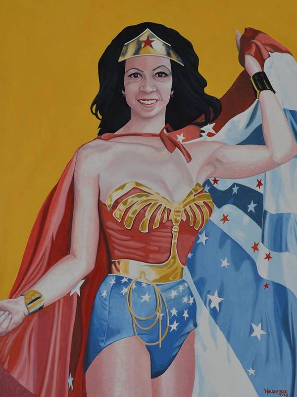 Woman Poster featuring the painting My Friend As Wonder Woman by John Houseman