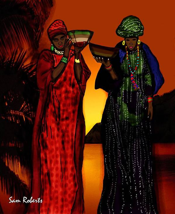 Senegal Poster featuring the painting My Fula by Sam Roberts