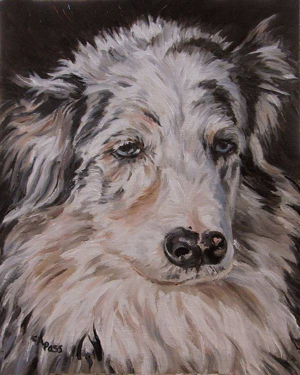 Poster featuring the painting My Funny Valentine - Dog Portrait by Cheryl Pass