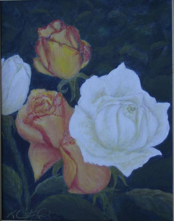 Roses Poster featuring the painting My Garden by KC Knight