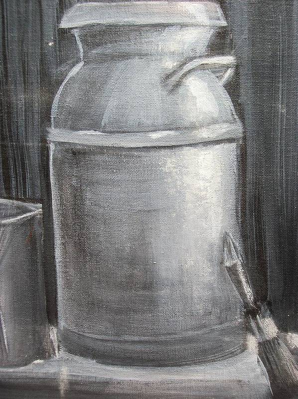 Old Milk Can Poster featuring the painting My Milk Can by Roxanna Finch