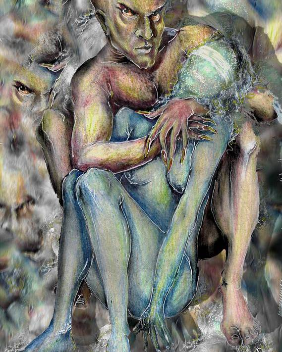Demons Love Passion Control Posession Woman Lust Poster featuring the mixed media My Precious by Veronica Jackson