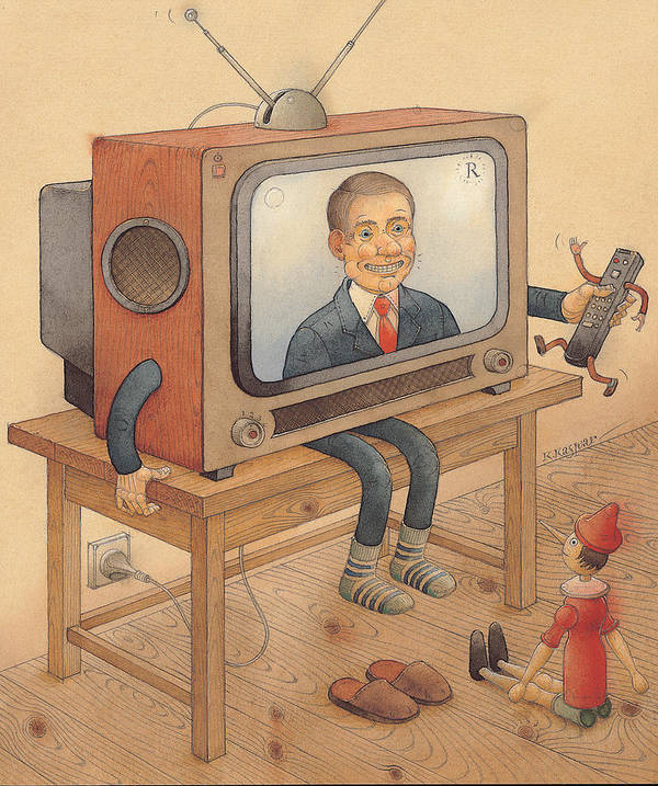 Tv Television Telly Toys Poster featuring the painting My Telly by Kestutis Kasparavicius