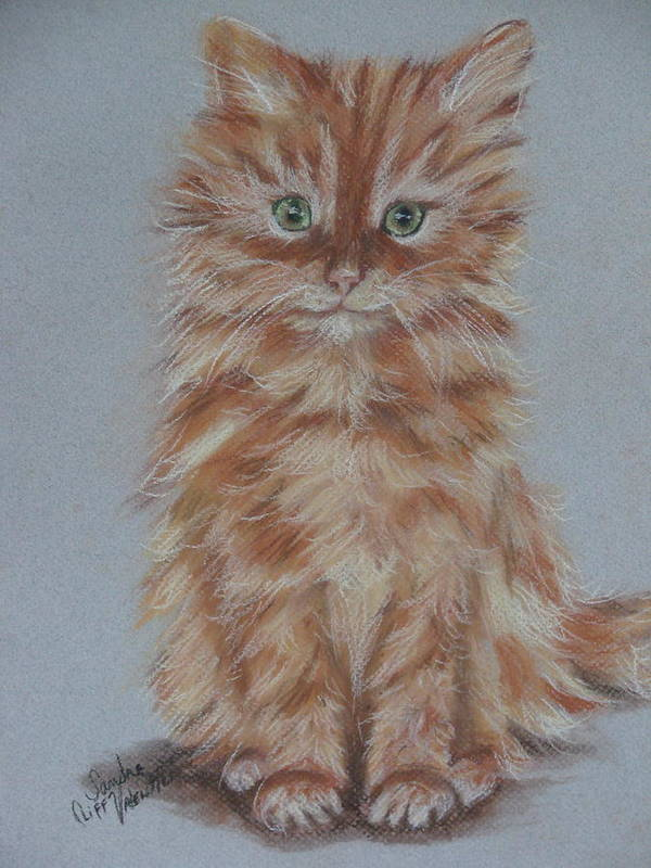 Baby Kitten Poster featuring the pastel My Tia Baby by Sandra Valentini