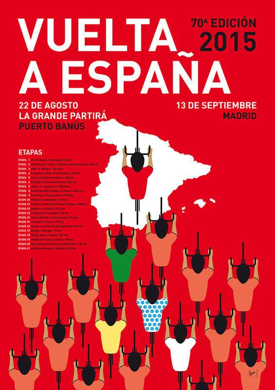 2015 Poster featuring the digital art My Vuelta A Espana Minimal Poster Etapas 2015 by Chungkong Art