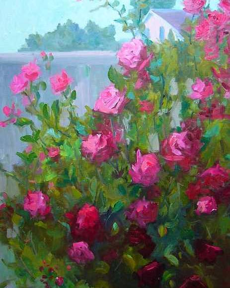 Climing Red Roses On Fence Poster featuring the painting Myback Yard Roses by Patricia Kness