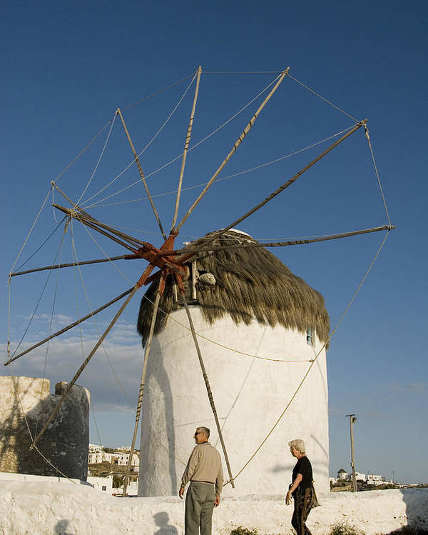 Mykonos Poster featuring the photograph Mykonos Icon Windmill by Charles Ridgway