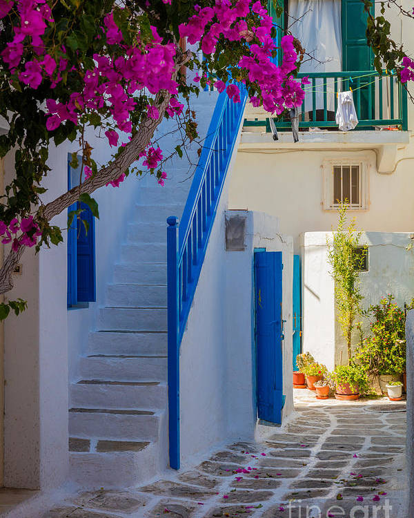 Aegean Sea Poster featuring the photograph Mykonos Staircase by Inge Johnsson