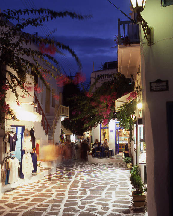 After Dark; ; Blur; Cyclades; Greece Poster featuring the photograph Mykonos Town At Night by Steve Outram