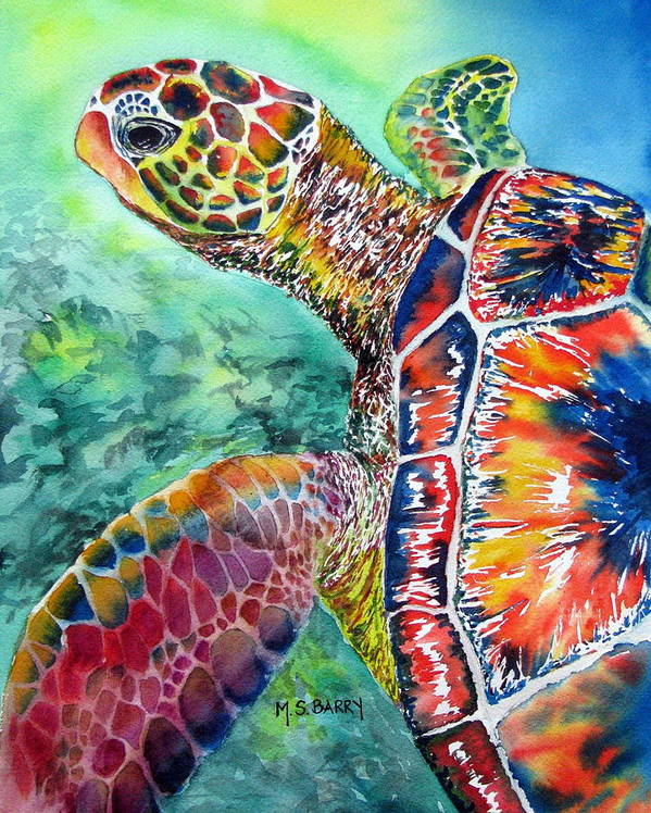 Turtle Poster featuring the painting Myrtle The Turtle by Maria Barry