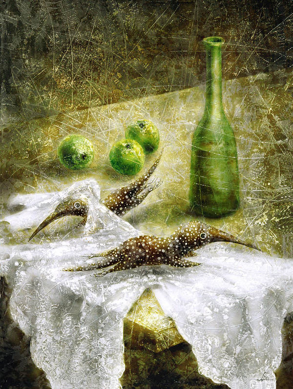 Apples Poster featuring the painting Mysterious Movement by Lolita Bronzini