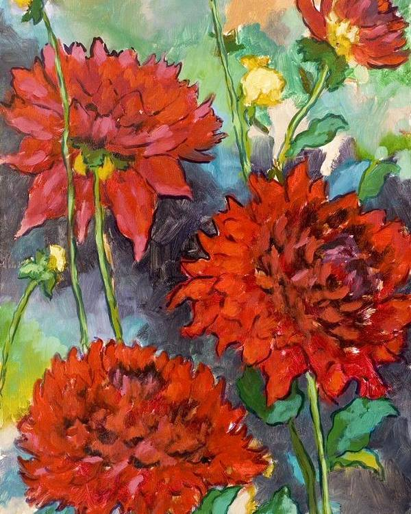 Dahlias Poster featuring the painting Mystery Day Dahlias by Brenda Williams
