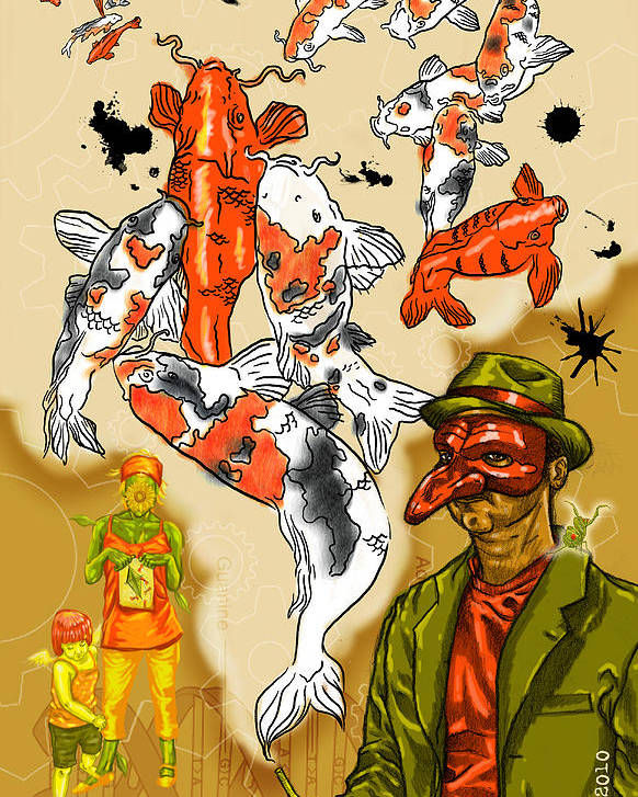 Surrealism Dream-scape Symbolism Iconography Koi Mantis Gears Dna Kite Mask Hat Poster featuring the digital art Mystic by Baird Hoffmire