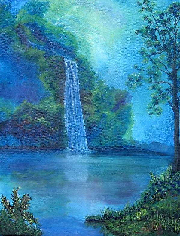 Landscape Poster featuring the painting Mystic Waterfall by SheRok Williams