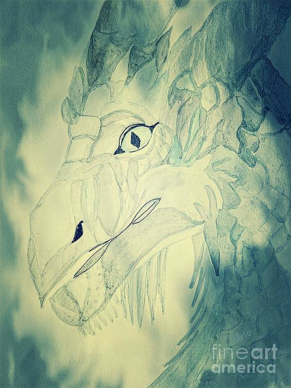 Mythical Dragon Poster featuring the mixed media Mythical Dragon by Maria Urso