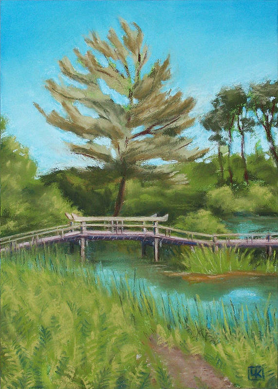 Bridge Poster featuring the mixed media Mytoi Bridge by Lisa Kretchman