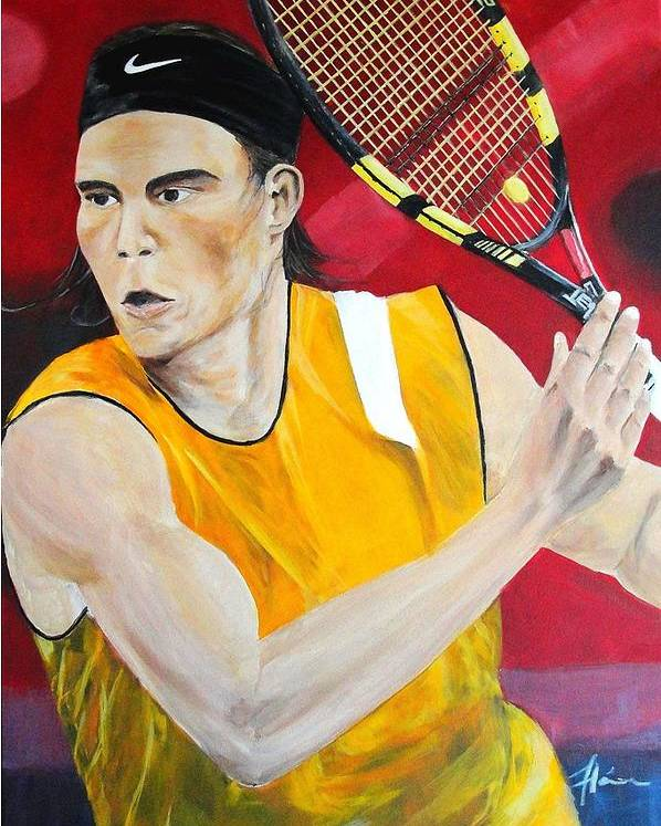 Rafael Poster featuring the painting Nadal by Flavia Lundgren