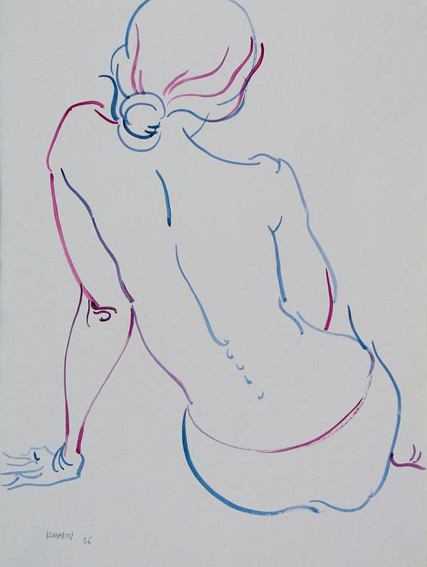 Woman Poster featuring the drawing Naked Woman Sitting With Bare Back by Vitali Komarov