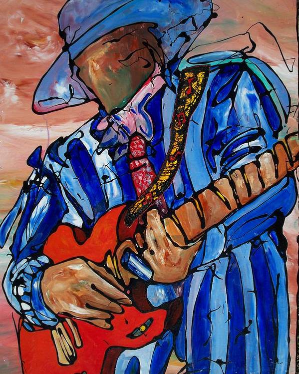 Music Poster featuring the painting Nameless The Wailer by Ernie Scott- Dust Rising Studios