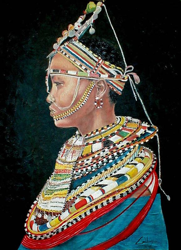 Maasai Poster featuring the painting Nanu by G Cuffia