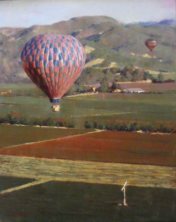 Wine Contry Poster featuring the painting Napa Balloon Morning Ride by Takayuki Harada