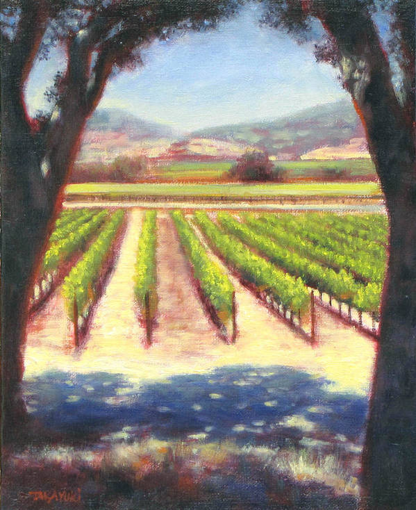 Wine Country Poster featuring the painting Napa Wine Vineyard Summer by Takayuki Harada