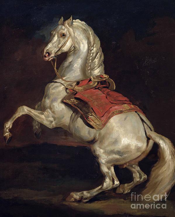 Napoleon Poster featuring the painting Napoleon's Stallion Tamerlan by Theodore Gericault