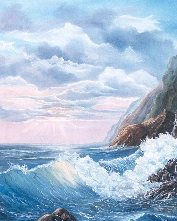Seascape Poster featuring the painting Napoli Coast One by Marveta Foutch