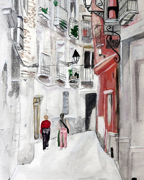 Europe Girls Flats Apartments Condo Street Old City Town Narrow Poster featuring the painting Narrow Street by Cathy Jourdan