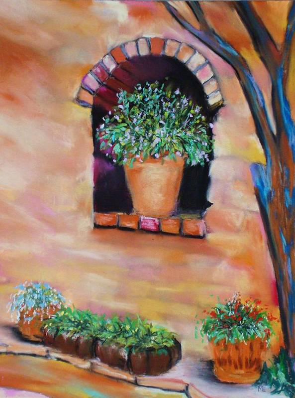 Courtyard Poster featuring the painting Nash's Courtyard by Melinda Etzold