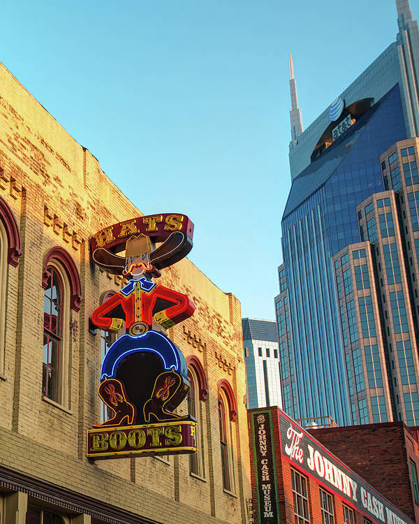 America Poster featuring the photograph Nashville Boots Neon Sign by Gregory Ballos