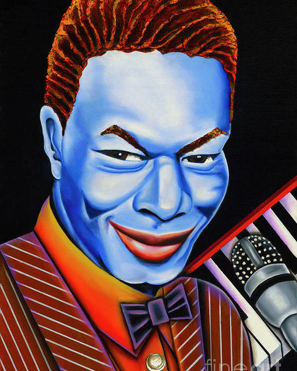 Blue Painting Poster featuring the painting Nat by Nannette Harris
