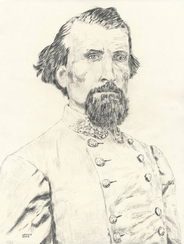 Forrest Poster featuring the drawing Nathan Bedford Forrest by Dennis Larson