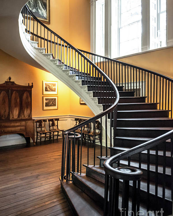 Attractive Nathaniel Russell Poster Featuring The Photograph Nathaniel Russell House Free  Floating Staircase By Dale Powell