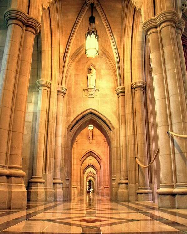 Church Poster featuring the photograph National Cathedral by Mitch Cat