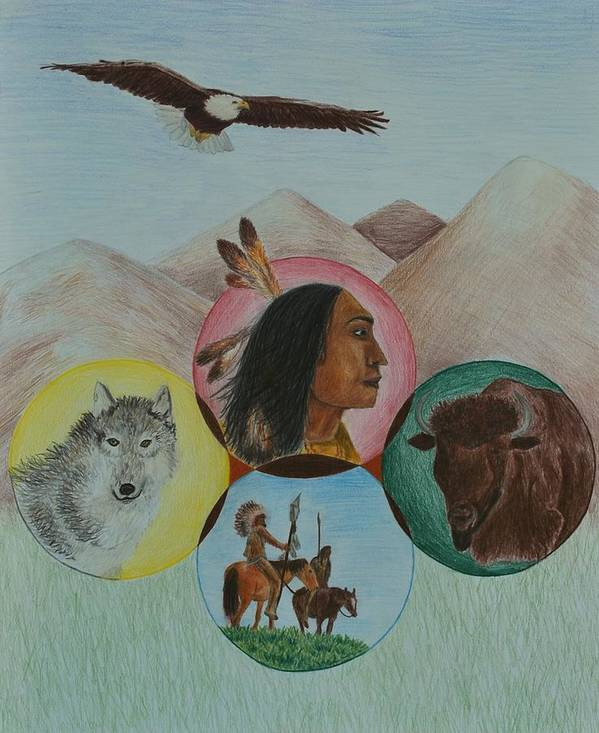 Native Americans Poster featuring the drawing Native American Circle Of Life by Jessica Hallberg