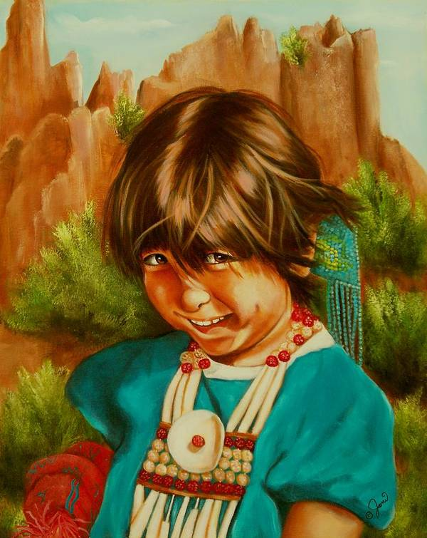 Portrait Poster featuring the painting Native American Girl by Joni McPherson