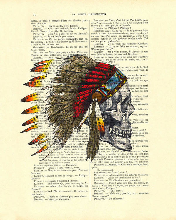 Native American Poster featuring the digital art Native American Skull by Madame Memento