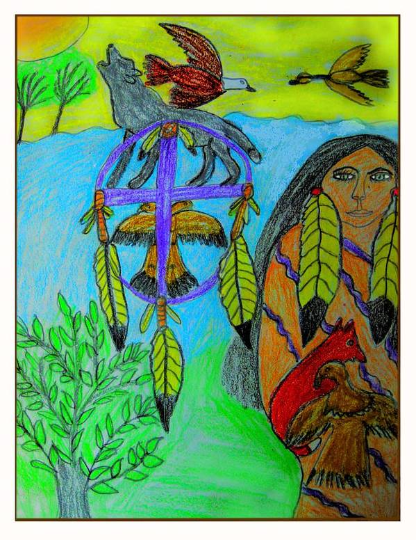 Dream Catchers Poster featuring the drawing Natural Dream Catcher by Betty J Roberts