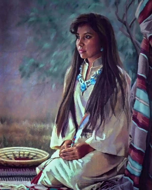 Figure Poster featuring the painting Navajo Beauty by Jean Hildebrant