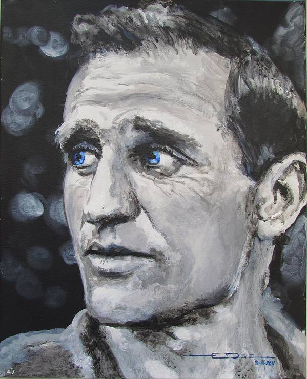 Neal Leon Cassady = Denver Colorado - Poster featuring the painting Neal Cassady - On The Road by Eric Dee