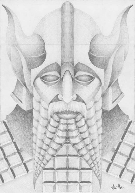 Babylonian Poster featuring the drawing Nebuchadezzar by Curtiss Shaffer
