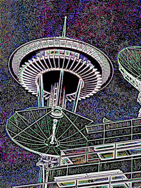 Seattle Poster featuring the digital art Needle Over Fisher Plaza by Tim Allen
