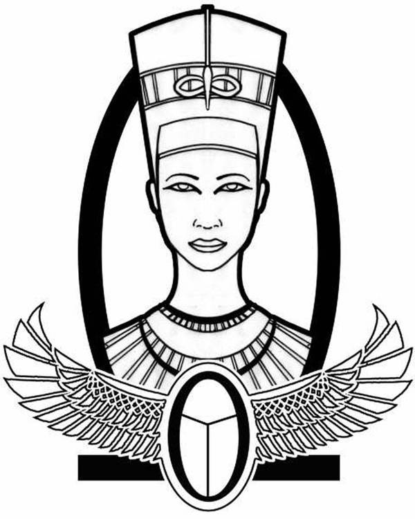 Egyptian Poster featuring the drawing Nefertiti by Alysa Sheats