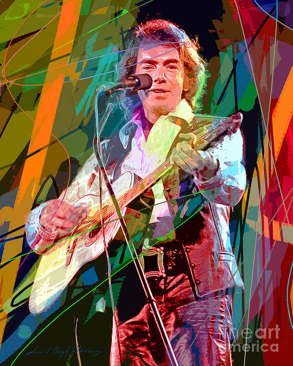 Neil Diamond Poster featuring the painting Neil Diamond Hot August Night by David Lloyd Glover