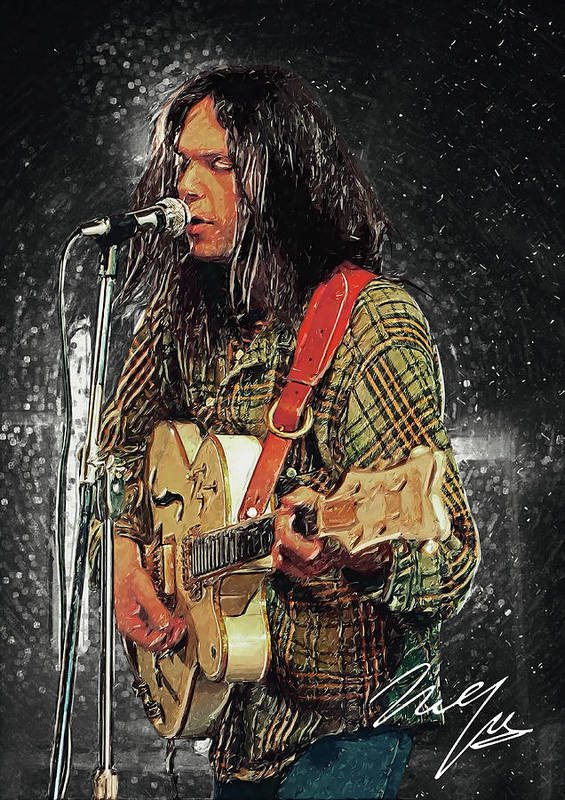Neil Young Poster featuring the digital art Neil Young by Zapista OU