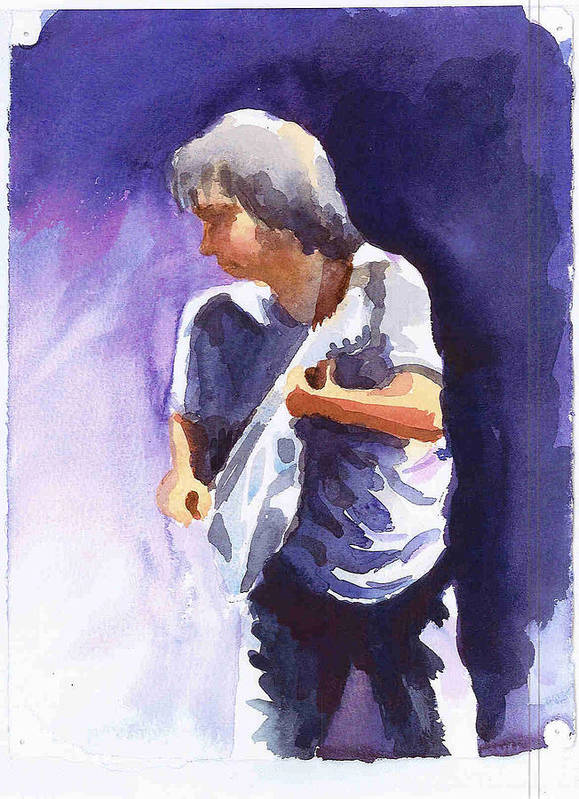 Neil Young Poster featuring the painting Neil Young With Gretsch White Falcon by Ken Daugherty