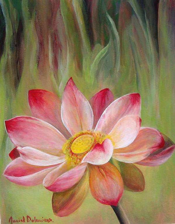 Flower Poster featuring the painting Nenuphar by Muriel Dolemieux