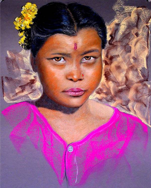 Nepal Poster featuring the painting Nepalese Girl by David Horning