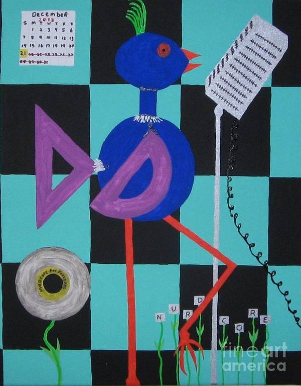 Nurdcore Music Poster featuring the painting Nerdcore Bird by Gregory Davis